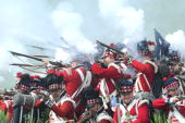 Men dressed as Scottish soldiers fight in a reeanactment of the battle of Waterloo on June 21 2009 with some 1200 others history enthusiasts from 20...