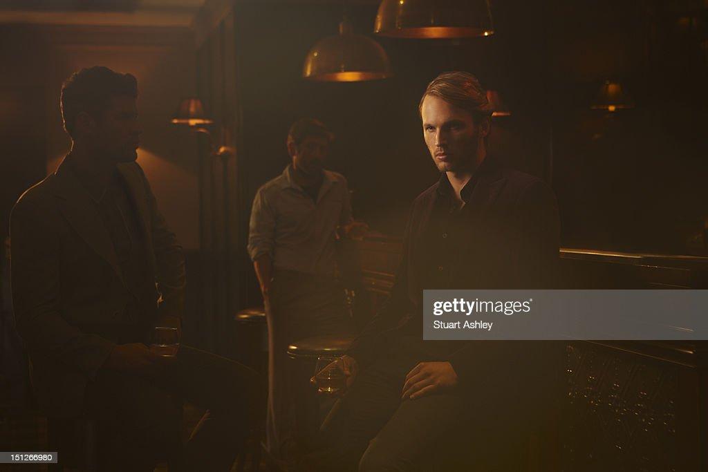 Men drinking in whiskey bar : Stock Photo