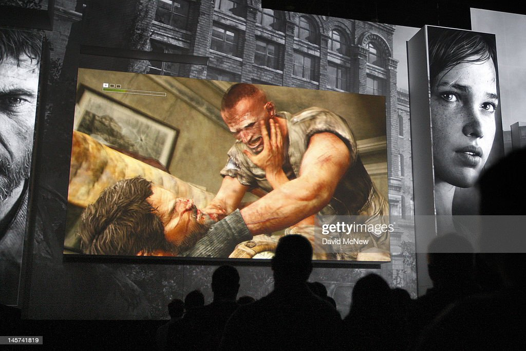 Men fight to the death in the violent PlayStation 3 game, The Last of Us, at the Sony press conference on the eve of the Electronic Entertainment Expo (E3) on June 4, 2012 in Los Angeles, California. E3 is the most important yearly trade show the $78.5 billion videogame industry.