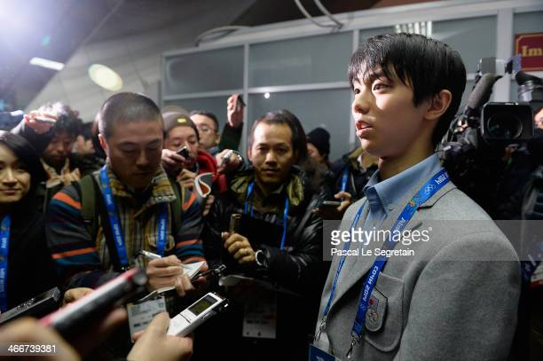 Men figure skater Yuzuru Hanyu of Japan arrives at Sochi International Airport ahead of the Sochi 2014 Winter Olympics on February 3 2014 in Sochi...