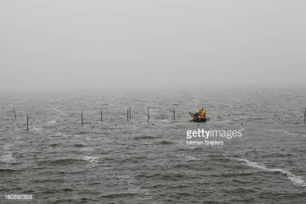 Men in a fishing boat on the Ijselmeer