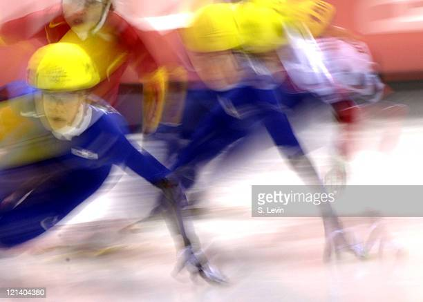Men in action during the Men's Short Track 1000 m at the Palavela during the 2006 Olympic Games in Torino Italy on February 18 2006