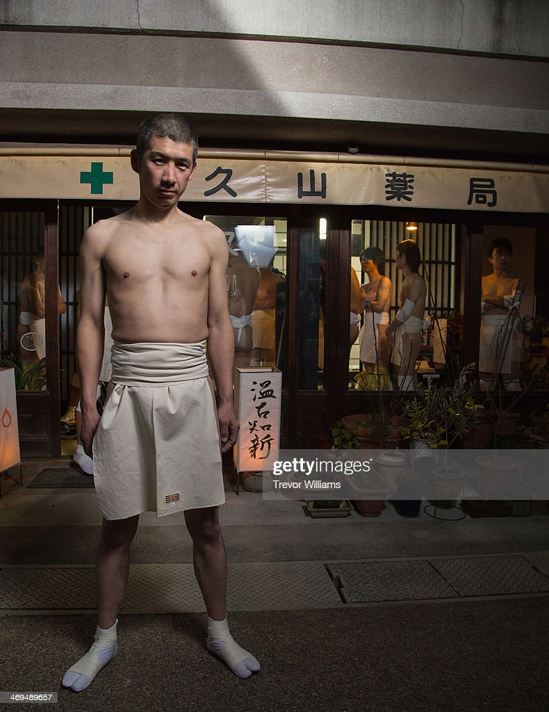 Men in loincloths participate in the Hadaka Matsuri or Naked Festival at Saidaiji Temple on February 15 2014 in Okayama Japan In this one of the most...