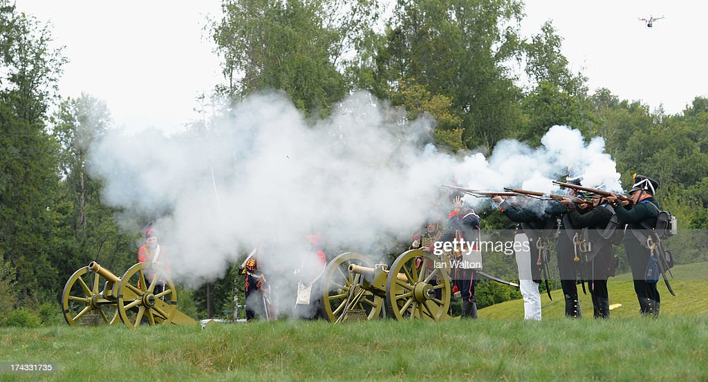 Men in period military costume fire cannons and muskets to start the Shot-gun Pro-Am of the M2M Russian Masters at Tseleevo Golf & Polo Club on July 24, 2013 in Moscow, Russia.