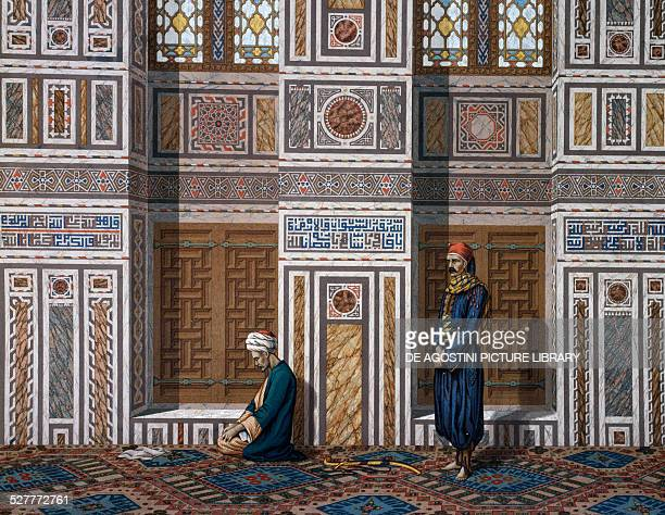 Men in prayer detail of the main hall of El Bordeyny Mosque in Cairo engraving from Arabic Art in the monuments of Cairo 18691877 by Emile Prisse...