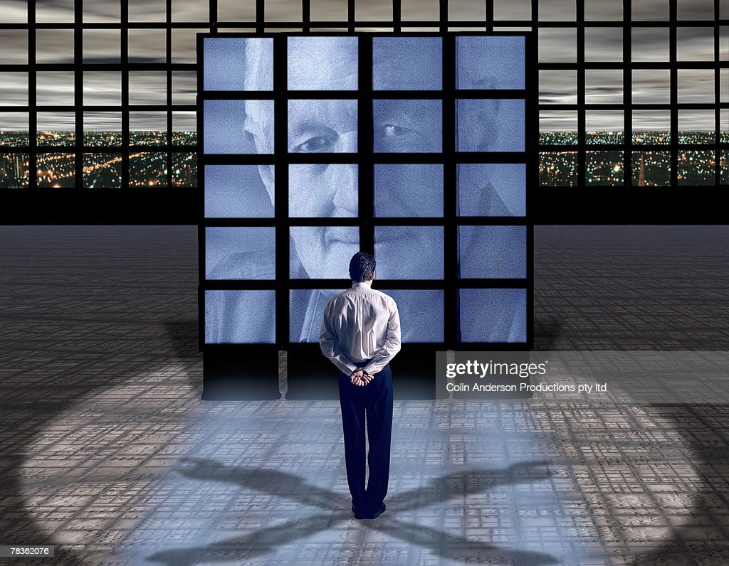 Men in teleconference : Stock Photo