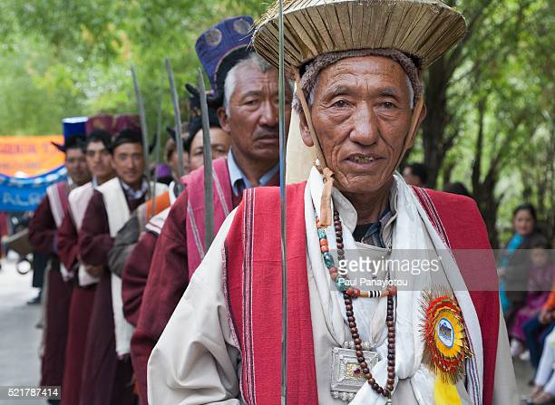Men in traditional clothing at the Ladakh Festival, Leh, India