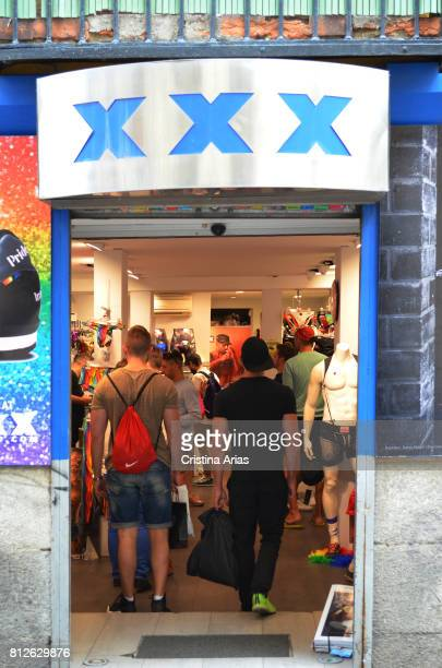 Men in XXX store in Chueca neighborhood with articles for gay people during the WorldPride Madrid on 30 June 2017 Madrid Spain
