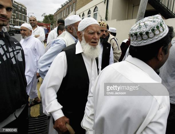 Men leave prayers outside the Dar Al Uloom Qadria Jilania Mosque and Religious School in Walthamstow on August 11 2006 in London England Police were...