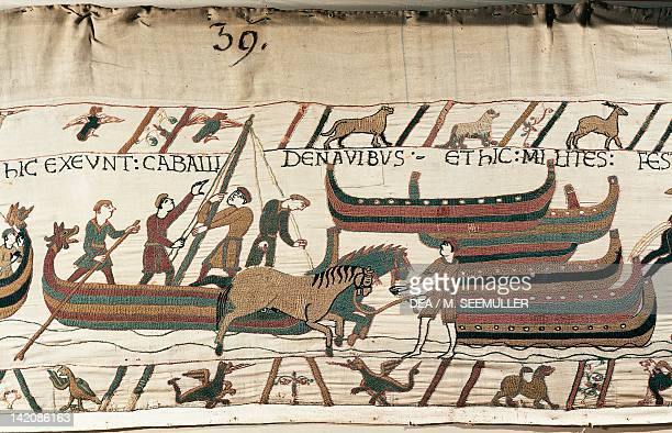 Men let horses get off the ship detail of Queen Mathilda's Tapestry or Bayeux Tapestry depicting Norman conquest of England in 1066 France 11th...