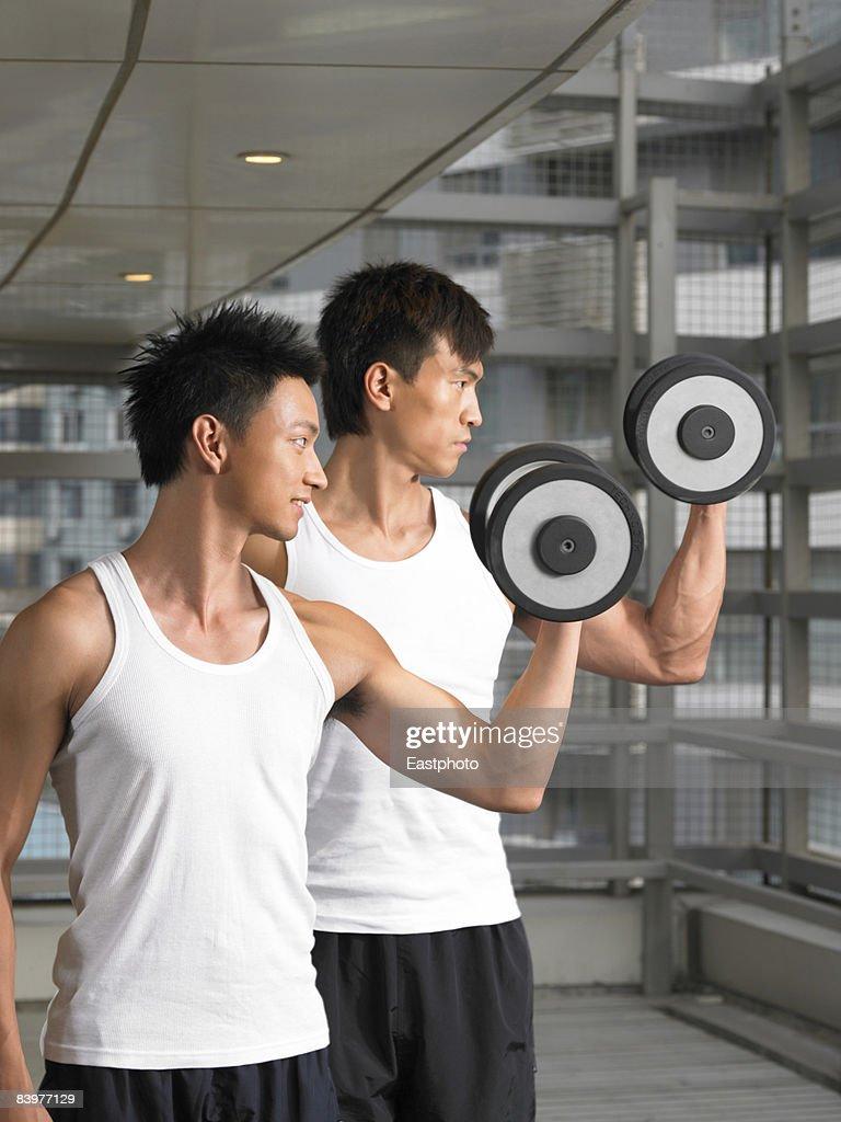 Men lifting weights. : Stock Photo