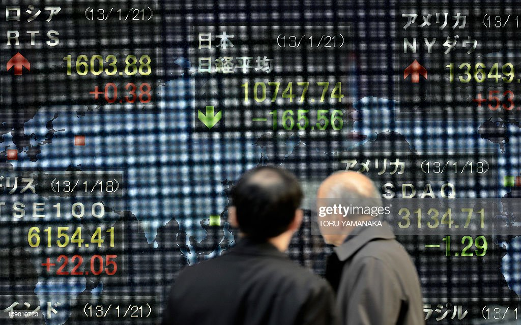 Men look at an electric quotation board flashing some key stock market indexes from around the world in front of a securities company in Tokyo on January 21, 2013. Tokyo stocks closed 1.52 percent lower on January 21 after rallying at the end of last week to a 33-month high, and as the Bank of Japan begins a two-day policy meeting. AFP PHOTO/Toru YAMANAKA