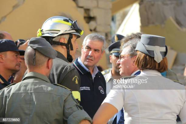 CASAMICCIOLA ISCHIA CAMPANIA ITALY Men of Civil Defense Fire Department and other law enforcement agencies coordinate earthquake relief in Ischia In...