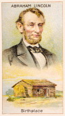 A 'Men of Genius' Shelley cigarette card featuring illustrations of American president Abraham Lincoln and his birthplace a log cabin published by J...