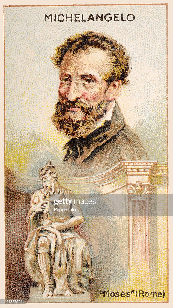 A 'Men of Genius' Shelley cigarette card with illustrations featuring <a gi-track='captionPersonalityLinkClicked' href=/galleries/search?phrase=Michelangelo+-+Artist&family=editorial&specificpeople=116061 ng-click='$event.stopPropagation()'>Michelangelo</a>, the Italian artist and his sculpture of Moses, published by J Milhoff and Co in 1924.