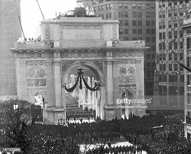Men of the 27th Division passing through the Victory Arch on Fifth Avenue during the greatest military parade New York ever held New York New York...