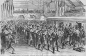 800 men of the Massachusetts Volunteers take the Train from Jersey City after Parading in New York They were stoned upon their arrival in Baltimore...