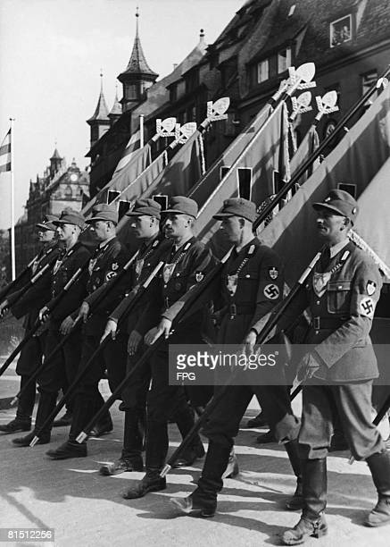 Men of the Nazi Reichsarbeitsdienst the Reich Labour Service on parade in Nuremberg Germany 1934