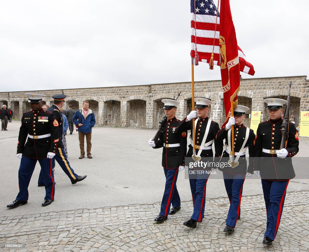 Men of the US Marines are pictured during a commemoration of the liberation of the Nazi concentration camp Mauthausen on May 12, 2013, 160 kilometers near Vienna. AFP PHOTO/DIETER NAGL