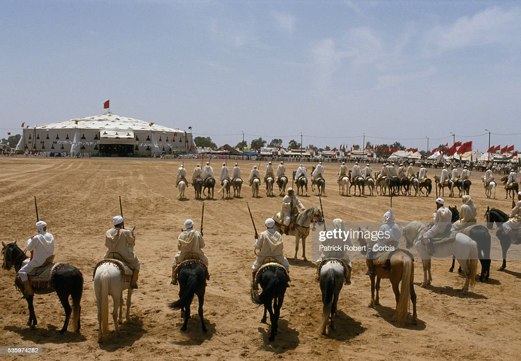 Men on horseback line up as they prepare to celebrate wedding of Princess Lalla Asmaa, daughter of Hassan II, King of Morocco.