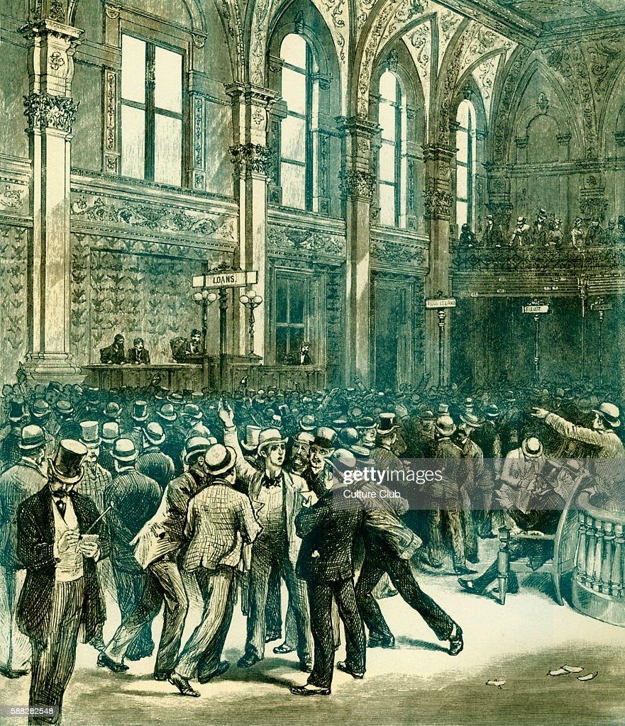 Men on the floor of the New York Stock Exchange Wall Street 1880s Illustration by Charles Graham