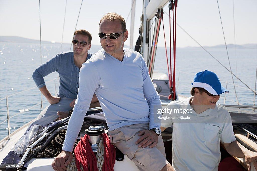 Men on yacht : Stock Photo