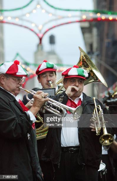 Men play music in the streets at the Feast of San Gennaro festival September 14 2006 in New York City The annual Italian festival has taken place...