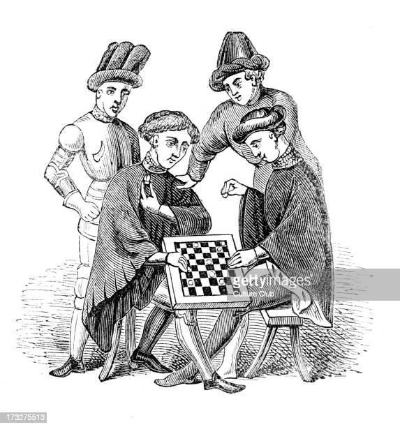 Men playing at Draughts from engraving based on illuminated manuscript of Harleian genealogies Old Welsh genealogies c 1100