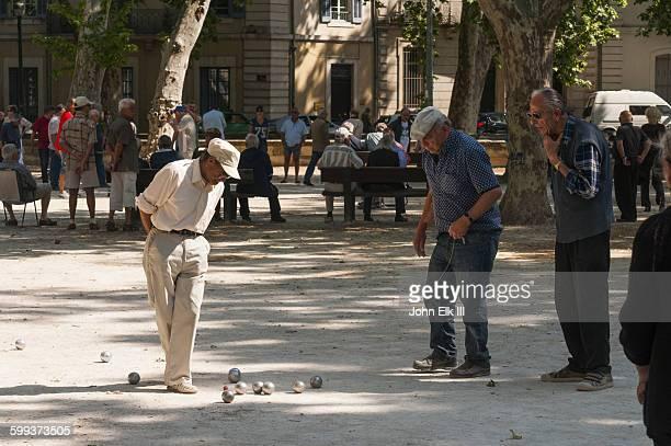 Men playing petanque