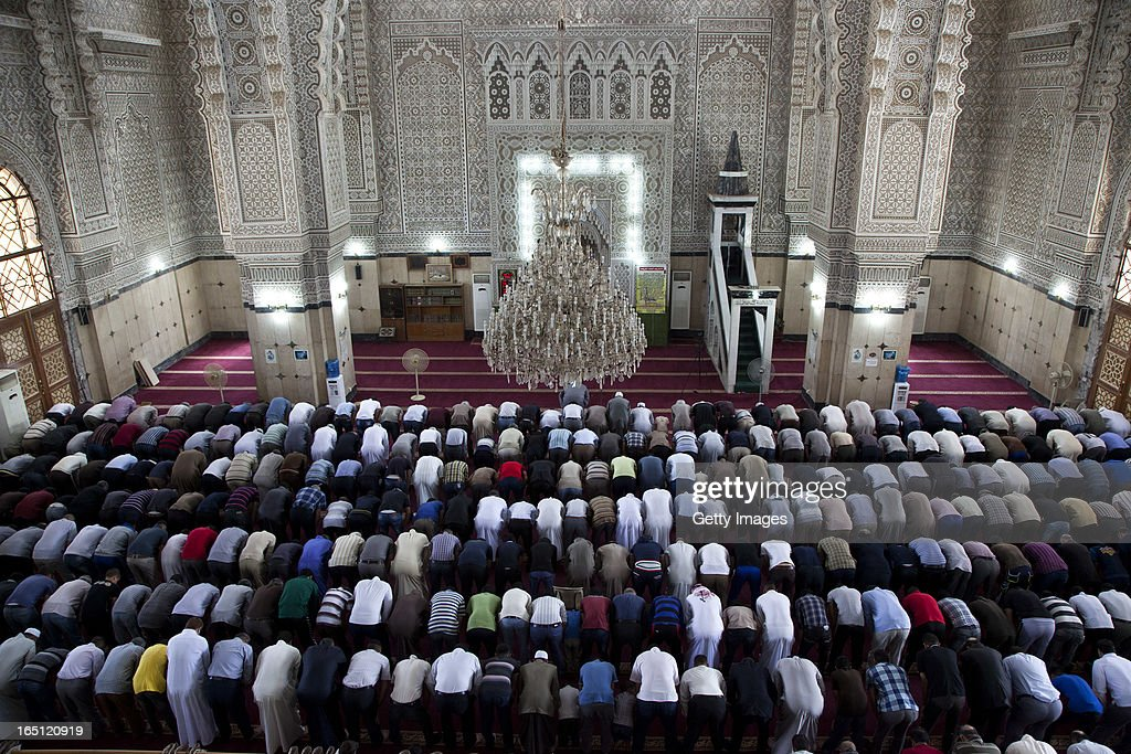 Men pray in the 17th of Ramadan mosque on March 29 2013 in Baghdad Iraq Ten years after the regime of Saddam Hussein was toppled from power Baghdad...