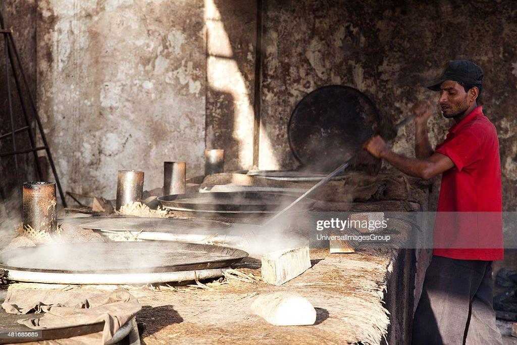 Men preparing food Charminar Hyderabad Andhra Pradesh India