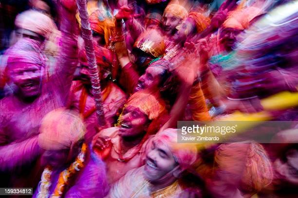 Men ready to be beaten by women on February 25 2007 at Barsana India