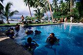 Men Scuba Diving in Pool