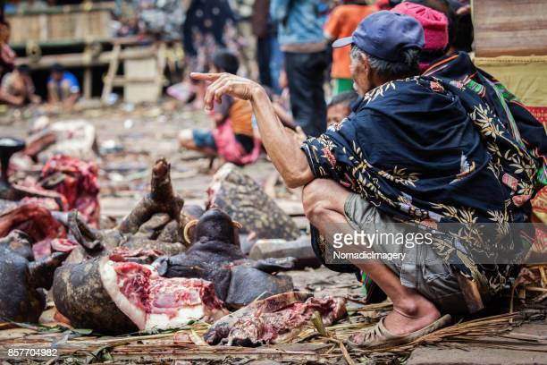 Men squat beside bloody Pig meat at animal sacrifice ceremony in Toraja land