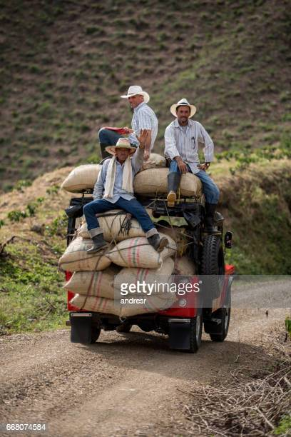 Men transporting sacks of coffee in a car