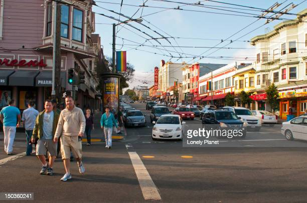 Men walking down Castro street at 18th.
