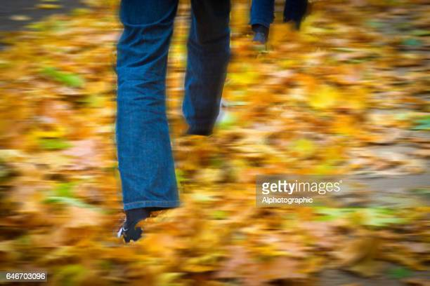 Men walking in fallen leaves