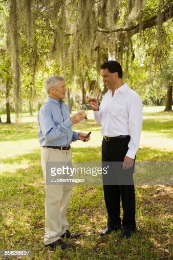Men with brandy and cigar : Stock Photo