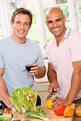Men with wine and vegetables