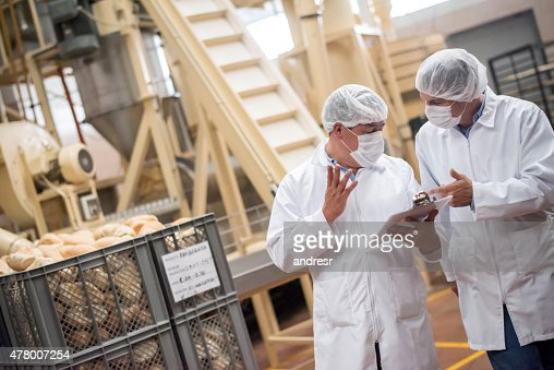 Men  working at a bread factory