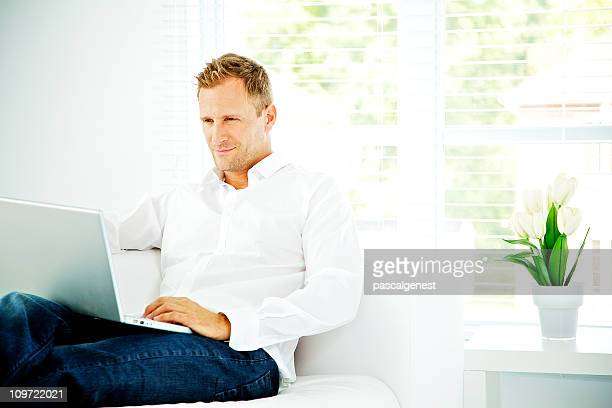men working at home