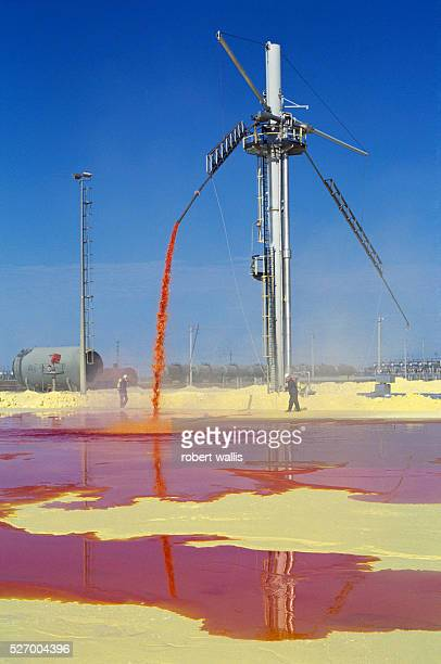 Men working in a sulfur pit at Chevron's Tengiz oil operation part of a joint venture between the United States Russia and Kazakhstan