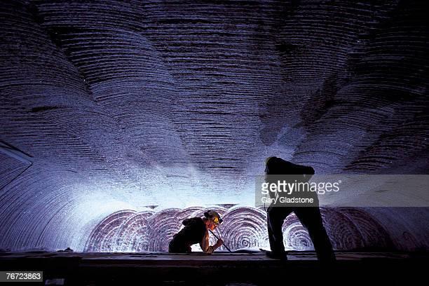Men working in an underground potash mine