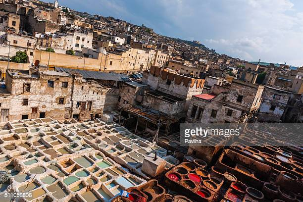 Men Working in Leather Tanneries , Fez, Morocco