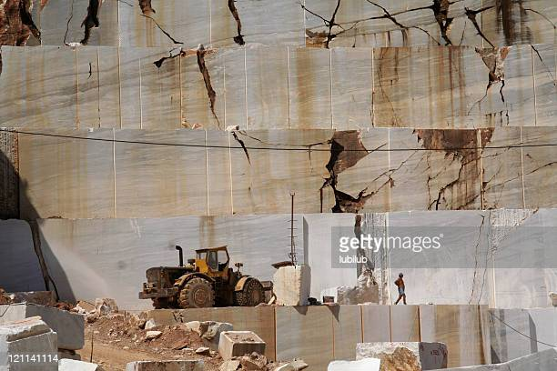 Men working in marble quarry on Greek  island Thassos