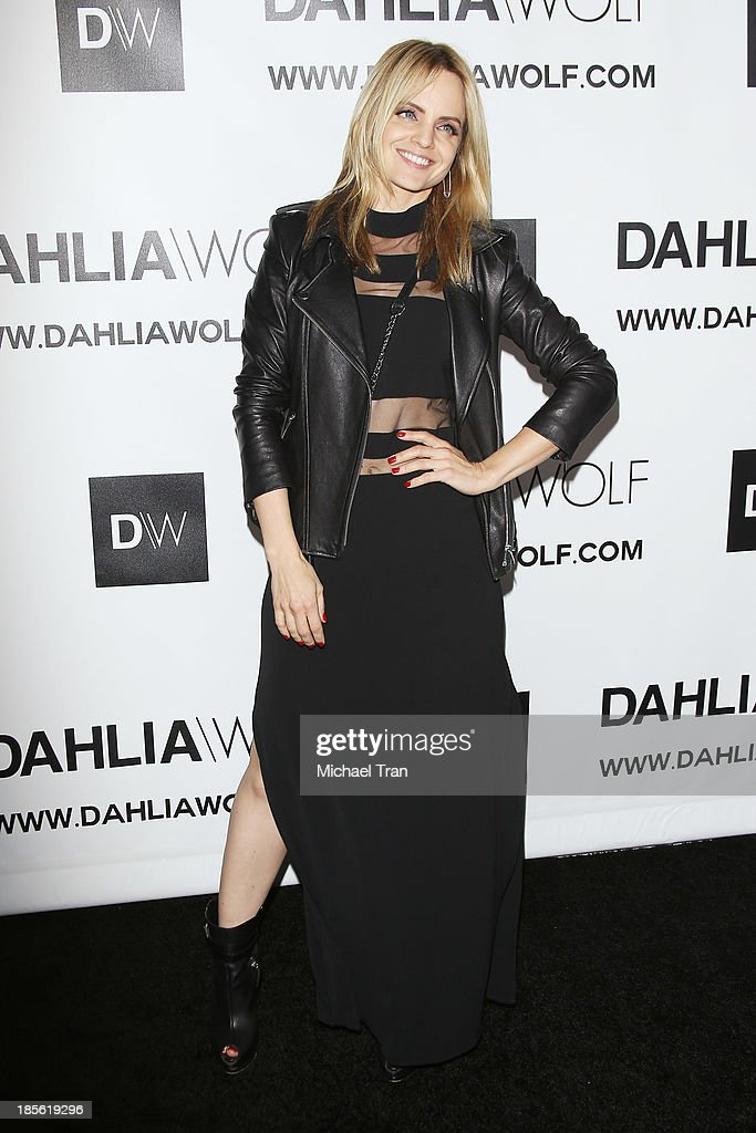Mena Suvari arrives at the Dahlia Wolf launch party held at Graffiti Cafe on October 22, 2013 in Los Angeles, California.
