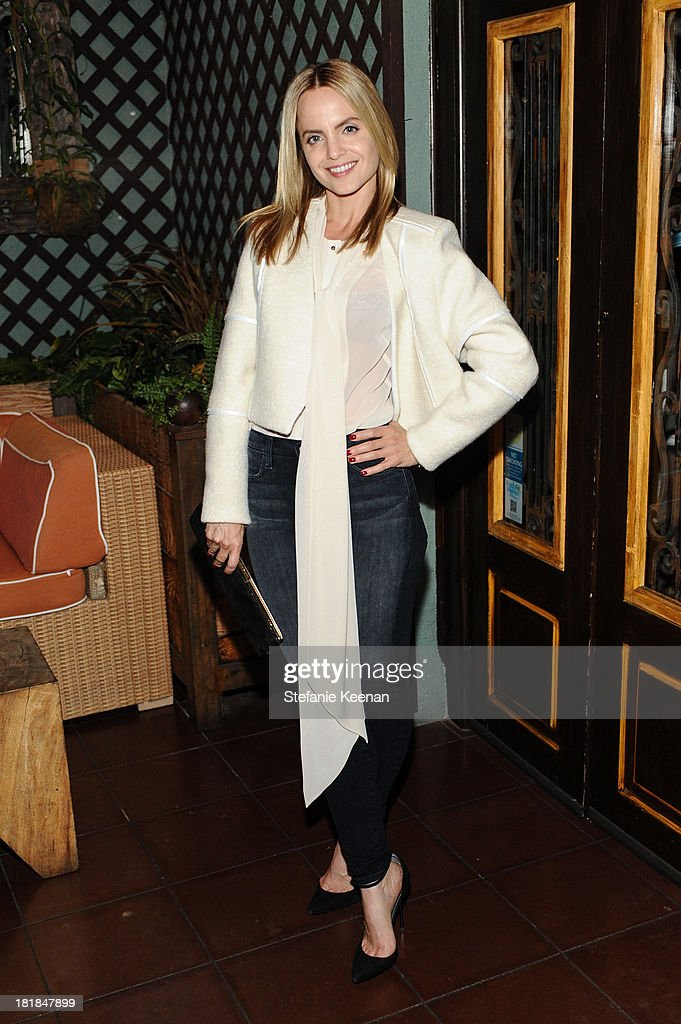 <a gi-track='captionPersonalityLinkClicked' href=/galleries/search?phrase=Mena+Suvari&family=editorial&specificpeople=156413 ng-click='$event.stopPropagation()'>Mena Suvari</a> attends an intimate dinner event hosted by Elle magazine and J Brand at Petit Ermitage Hotel on September 25, 2013 in West Hollywood, California.