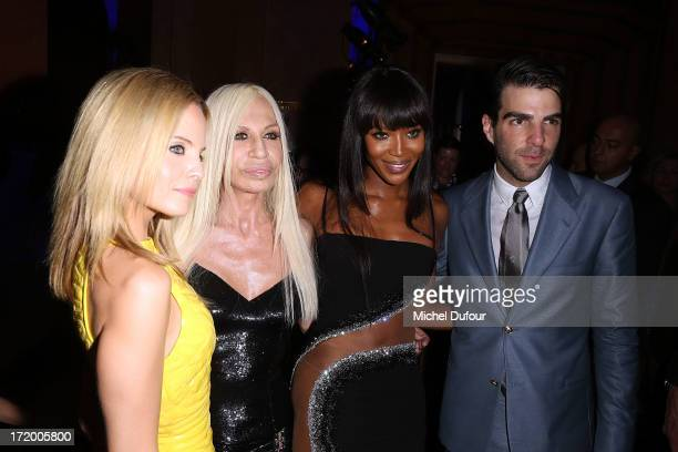 Mena Suvari Donatella Versace Naomi Campbell and Zachary Quinto backstage after the Versace show as part of Paris Fashion Week HauteCouture...