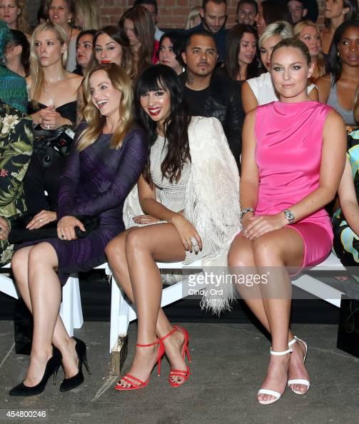 Mena Suvari Jackie Cruz and Lindsey Vonn attend the Christian Siriano fashion show during MercedesBenz Fashion Week Spring 2015 at Eyebeam on...