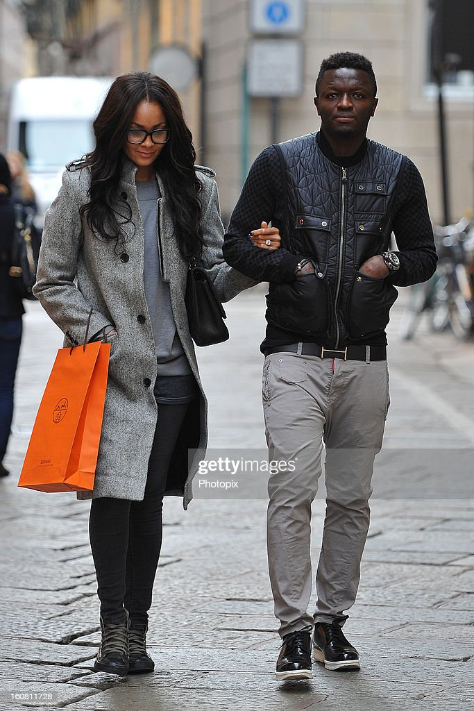 Menaye Donkir Muntari and Sulley Muntari are seen on February 6, 2013 in Milan, Italy.